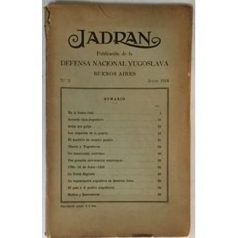 JADRAN : PUBLICACION DE LA DEFENSA NACIONAL YUGOSLAVIA : 1919. BUENOS AIRES No. 2