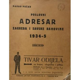 PAVAO PUČAR : POSLOVNI ADRESAR ZAGREBA I SAVSKE BANOVINE 1934-5