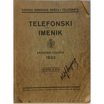 TELEFONSKI IMENIK 1933.