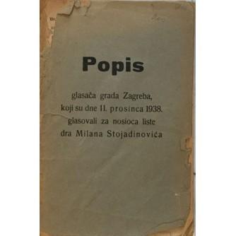 POPIS GLASAČA GRADA ZAGREBA KOJI SU DNE 11. PROSINCA 1938. GLASOVALI ZA NOSIOCA LISTE DRA MILANA STOJADINOVIĆA