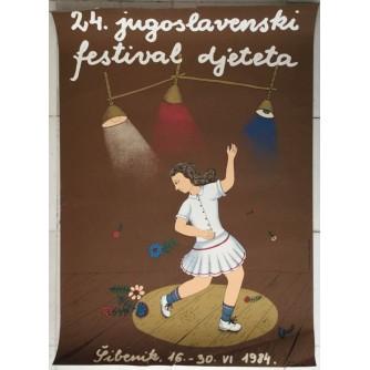 24.JUGOSLAVENSKI FESTIVAL DJETETA , ŠIBENIK 1984. REKLAMNI PLAKAT