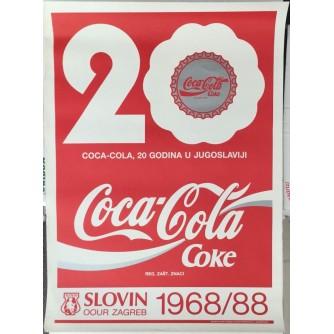 COCA-COLA , 20 GODINA U JUGOSLAVIJI , REKLAMNI PLAKAT