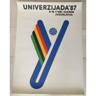 UNIVERZIJADA 87.ZAGREB ,REKLAMNI PLAKAT , AUTOR D. BEKER