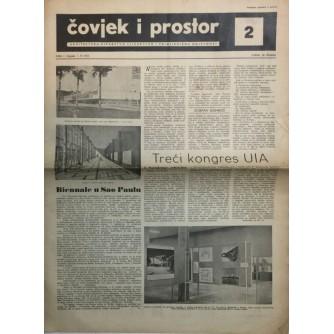 ČOVJEK I PROSTOR , ARHITEKTURA , ČASOPIS BROJ 2 IZ 1954.