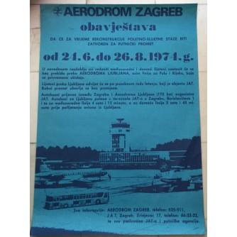 AERODROM ZAGREB ,REKLAMNI PLAKAT ,1974.