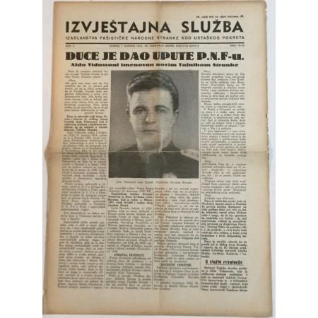 NOVINE IZVJEŠTAJNA SLUŽBA FAŠISTIČKE NARODNE STRANKE KOD USTAŠKOG POKRETA BROJ 19-20 GODINA 1941