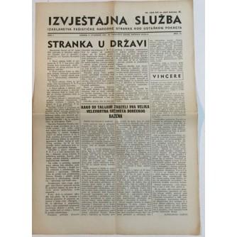NOVINE IZVJEŠTAJNA SLUŽBA FAŠISTIČKE NARODNE STRANKE KOD USTAŠKOG POKRETA BROJ 12 GODINA 1941