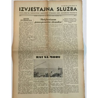 NOVINE IZVJEŠTAJNA SLUŽBA IZASLANSTVA FAŠISTIČKE NARODNE STRANKE KOD USTAŠKOG POKRETA BROJ 7 GODINA 1941.