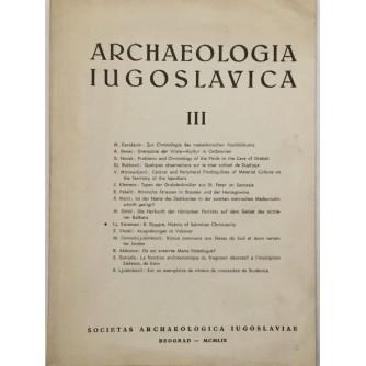 ARCHEOLOGIA JUGOSLAVICA III ČASOPIS BROJ 3 GODINA 1959