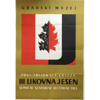 VUJAČIĆ : PRVI TRIJENALE CRTEŽA , PLAKAT  SOMBOR 1963.