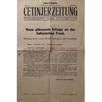 CETINJER ZEITUNG , NOVINE , EXTRA AUSGABE  , NUMMER 11  1917.