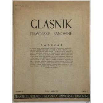 GLASNIK PRIMORSKE BANOVINE BROJ 5 GODINA 1939.