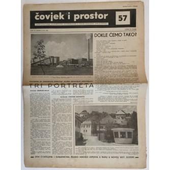 ČOVJEK I PROSTOR , ARHITEKTURA ČASOPIS BROJ 57 GODINA 1956.