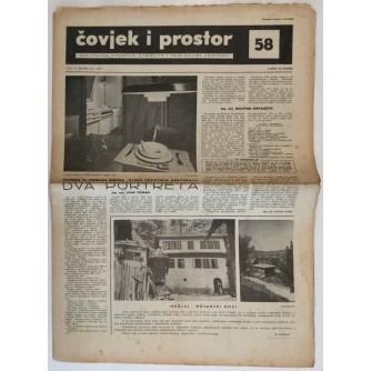 ČOVJEK I PROSTOR , ARHITEKTURA ČASOPIS BROJ 58 GODINA 1957.