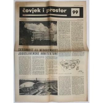ČOVJEK I PROSTOR , ARHITEKTURA ČASOPIS BROJ 99 GODINA 1960.