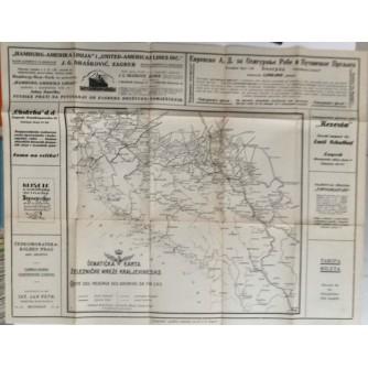 ČOLIĆ : ŠEMATSKA KARTA ŽELEZNIČKE MREŽE KRALJEVINE S.H.S. SA TARIFOM PRTLJAGE I BILETA