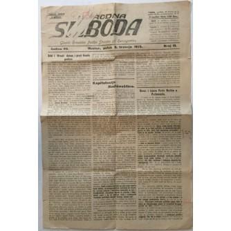 NARODNA SLOBODA , GLASILO HRVATSKE PUČKE STRANKE ZA HERCEGOVINU , NOVINE BROJ 13 IZ 1925.