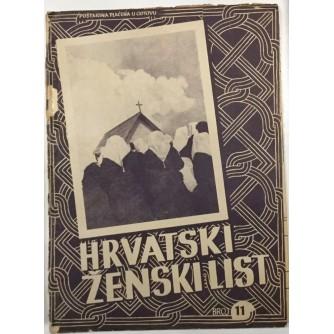 HRVATSKI ŽENSKI LIST , ČASOPIS BROJ 11 IZ 1942. GODINE