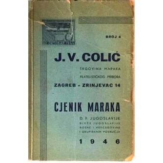 COLIĆ J.V. : CJENIK MARAKA D.F. JUGOSLAVIJE 1946.