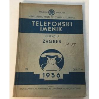 TELEFONSKI IMENIK DIREKCIJA  ZAGREB 1936. KRALJEVINA JUGOSLAVIJA