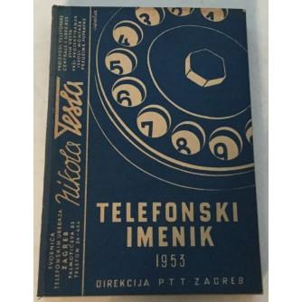 TELEFONSKI IMENIK DIREKCIJA PTT ZAGREB 1953.