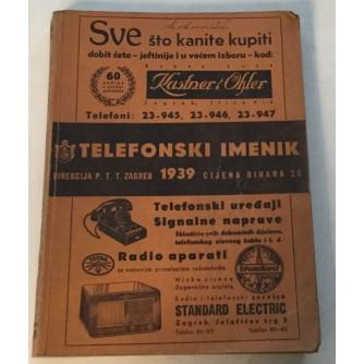 TELEFONSKI IMENIK DIREKCIJA PTT CENRALE ZAGREB 1939.