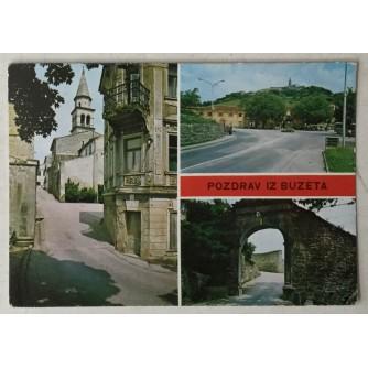 Buzet: stara razglednica Pozdrav iz Buzeta tri motiva