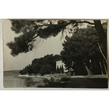Medulin: stara razglednica Dječje ljetovalište NOGZ - a zgrada u borovima uz obalu