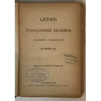 Ljetopis Jugoslavenske akademije znanosti i umjetnosti za godinu 1896.