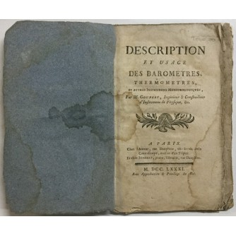 M. Goubert: Description et usage des barometres, thermometres et autres instrumens météorologiques