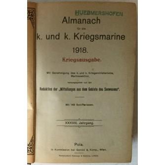 Almanach für die k. und k. Kriegsmarine 1918, Kriegsausgabe