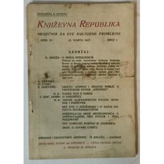 Književna Republika, Mesečnik za sve kulturne probleme 1/1927.