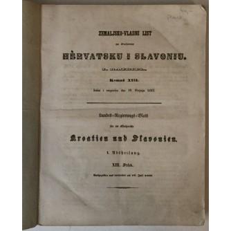 ZEMALJSKO-VLADNI LIST ZA KRALJEVINE HERVATSKU I SLAVONIU, I. RAZDIEL, KOMAD XIII-XX,1853. GOD.