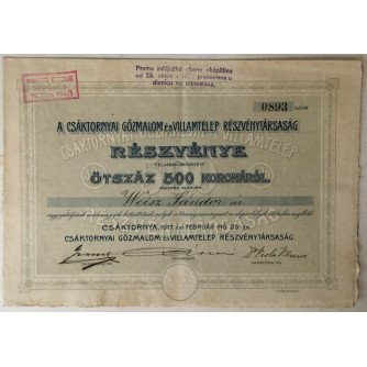 DIONICA , ČAKOVEC, CSAKTORNYAT GOZMALOM ES VILLAMTELEP RESZVENYTARSASAG, BROJ 0893, VRIJEDNOST 500 KRUNA, 1917. GOD.