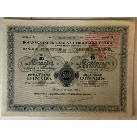10 DIONICA BOSANSKE INDUSTRIJALNE I TRGOVAČKE BANKE, BEOGRAD, SERIJA A BROJ 002581-002590, VRIJEDNOST 5000 DINARA, 1934. GOD.