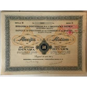 DIONICA BOSANSKE INDUSTRIJALNE I TRGOVAČKE BANKE, BEOGRAD, SERIJA B BROJ 0100, VRIJEDNOST 500 DINARA, 1934. GOD.