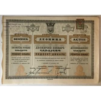 DIONICA DEONIČKE PIVARE SARAJEVO, BROJ 001.737, VRIJEDNOST 50 DINARA, 1923. GOD.