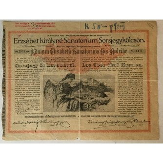 OBVEZNICA SANATORIJA ZA PLUĆNE BOLESTI U BUDIMPEŠTI, SERIJA 2524 BROJ 044, 1904. GOD