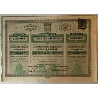 5 DIONICA DEONIČKE PIVARE SARAJEVO, BROJ 005,421-005,425, VRIJEDNOST 250 DINARA, 1923. GOD.