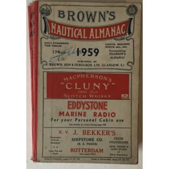 BROWN'S NAUTICAL ALMANAC 1959