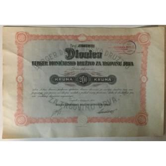 DIONICA, BERGER DIONIČARSKO DRUŽTVO ZA TRGOVINU DRVA, ZAGREB, BROJ 4672, VRIJEDNOST 200 KRUNA, 1907. GOD.