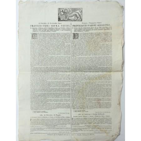 PROGLAS MLETAČKE REPUBLIKE NA TALIJANSKOM I HRVATSKOM JEZIKU: GL'ILLUSTRISSIMI, E ECCELLENTISSIMI SIGNORI PROVEDITORE SOPRA FEUDI/ PRISVYTLA, I PRYUZVZSCENA GOSPODA PROVIGIAVZI SVARHU AGGALUKA IZ 1761.