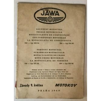 Jawa: natjecateljski i moto-cross motocikli, dodatak uputstvima za uporabu i listi rezervnih dijelova
