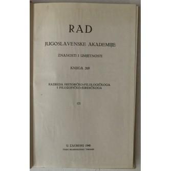 Rad Jugoslavenske akademije znanosti i umjetnosti, knjiga 269