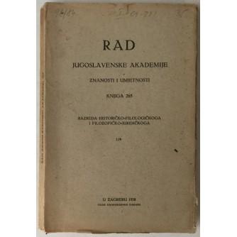 Rad Jugoslavenske akademije znanosti i umjetnosti, knjiga 265