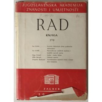 Rad Jugoslavenske akademije znanosti i umjetnosti, knjiga 270