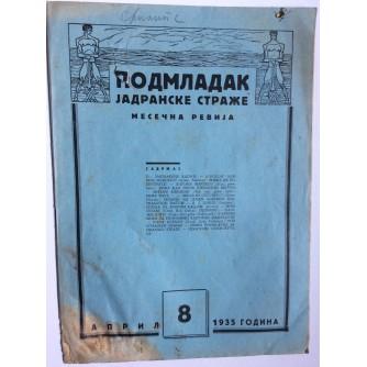 PODMLADAK JADRANSKE STRAŽE, 1935. BROJ 8, ČASOPIS