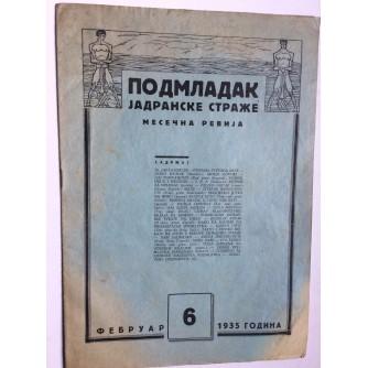 PODMLADAK JADRANSKE STRAŽE, 1935. BROJ 6, ČASOPIS