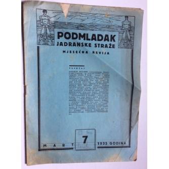 PODMLADAK JADRANSKE STRAŽE, 1935. BROJ 7, ČASOPIS
