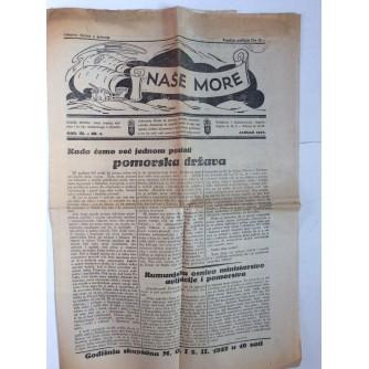 NAŠE MORE, 1937., GODINA III. BROJ 1, NOVINE